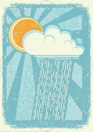 rainfall: Rain vintage card with raining sky on old paper texture
