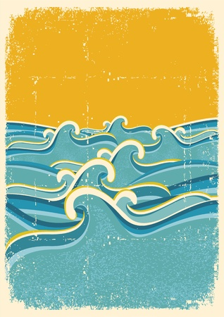 Sea waves horizon on old paper texture.Vintage illustration Vector