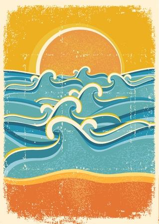rippled: Onde del mare e spiaggia di sabbia gialla sulla vecchia illustrazione texture.Vintage carta