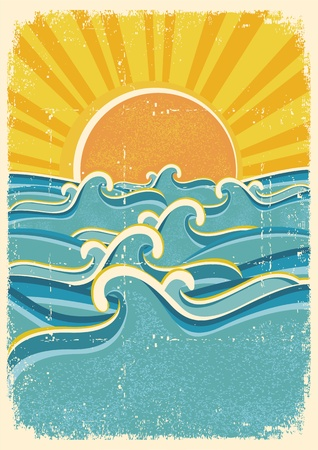 Sea waves and yellow sun on old paper texture.Vintage illustration Vector
