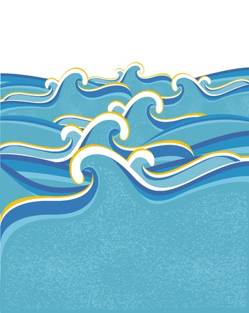Sea waves abstract on white background for design.Vector illustration of sea landscape  Vector