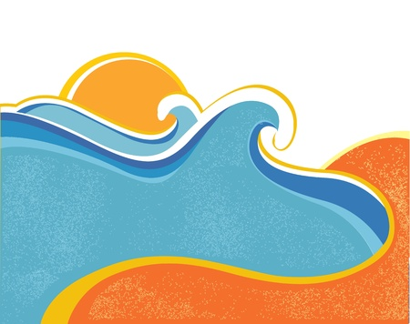 Sea waves poster. Vector illustration of sea landscape  Vector