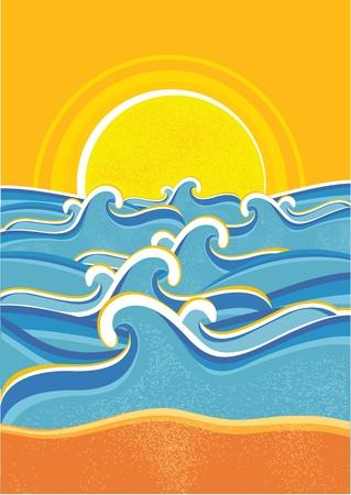 Sea waves and yellow sun.Vector seascape illustration Vector