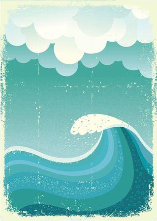 Wave in ocean.Water Natur seascape.Mesh
