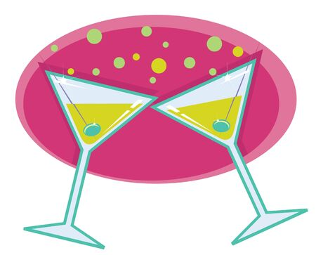 martinis:  retro style illustration of martinis with olives on abstract retro background