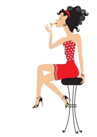 sgabelli: Bella donna � seduta nel club e bere cocktai.color illustrazione su sfondo bianco per il design