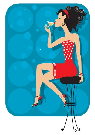 bar stool: Nice woman is sitting in club and drinking cocktail.color illustration Illustration