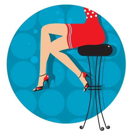 glamors: Woman legs with fashion shoes sitting on bar stool.Color illustration