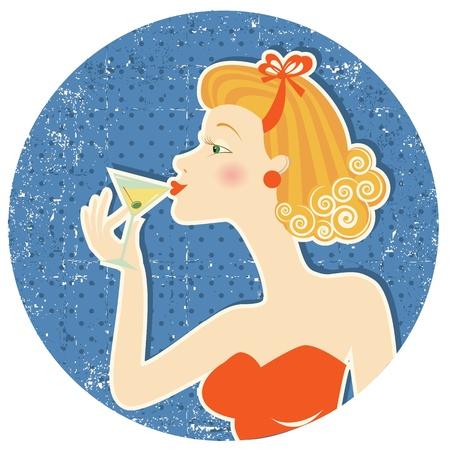Retro nice woman drink martini on old paper texture Иллюстрация