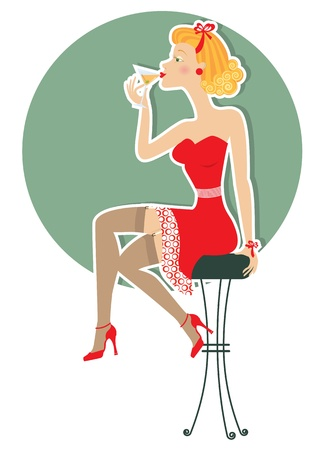 Retro woman is sitting and drinking martini in red dress.Pin up style poster on white Vector