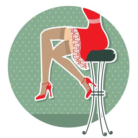 Retro woman legs with fashion shoes sitting on bar stool.Color illustration Vector