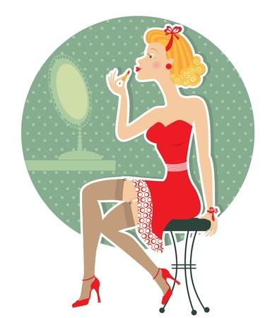 pin up vintage: Retro donna piacevole e portare lipstick.Pin up stile Vettoriali