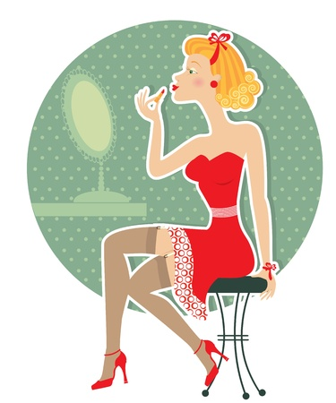 vintage pin up: Retro nice woman and make up lipstick.Pin up style  Illustration