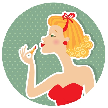girl in red dress: Retro nice woman and make up lipstick.Pin up style  Illustration