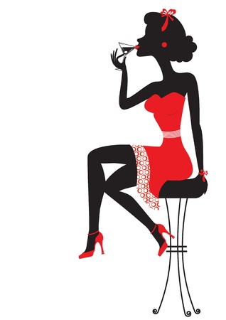 stool: Woman is sitting and drinking martini in red dress on white