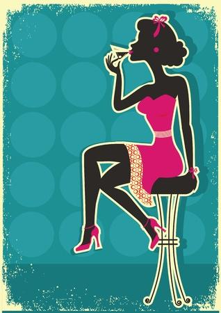 pin up vintage: Retro donna è seduto a bere martini rosso, in stile dress.Vintage Vettoriali