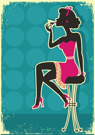 stool: Retro woman is sitting and drinking martini in red dress.Vintage style Illustration