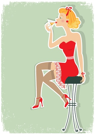 Retro woman is sitting and drinking martini in red dress.Pin up style poster  Illustration