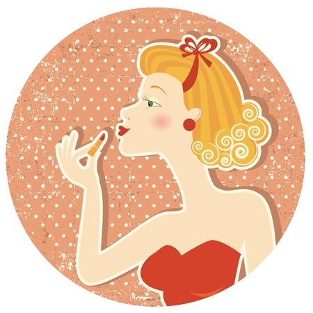 vintage lady: Pin-up style.Nice vrouw met lippenstift