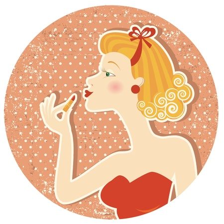 make up woman: Pin up style.Nice woman with lipstick