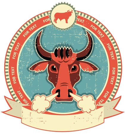 Bull head label on old paper texture.Vintage style Vector
