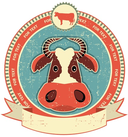 Cow head label on old paper texture.Vintage style Stock Vector - 12331154