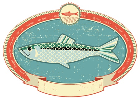Fish label on old paper texture.Vintage style Stock Vector - 12331156