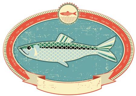 L'étiquette de poisson sur le style du papier texture.Vintage ancienne