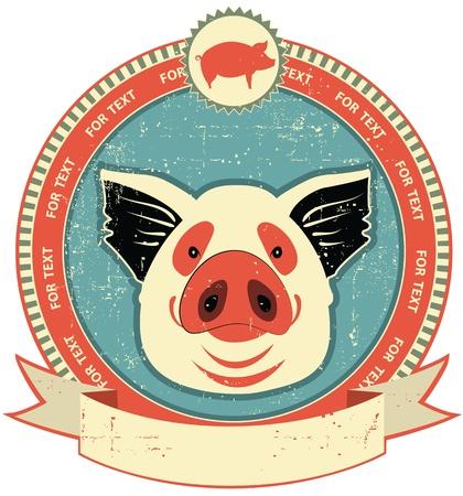 chancho caricatura: Cerdo etiqueta de cabeza en el viejo estilo texture.Vintage de papel