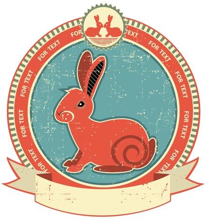 white rabbit: Rabbit label on old paper texture.Vintage style