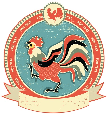 hen: Rooster label on old paper texture.Vintage style Illustration