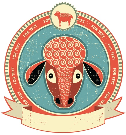 Sheep head label on old paper texture.Vintage style Stock Vector - 12331155