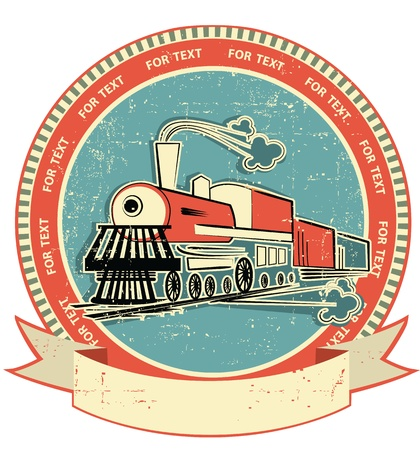 steam train: Locomotive label.Vintage style on old texture for text Illustration