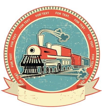 locomotora: Locomotora de estilo label.Vintage en la textura de edad para el texto