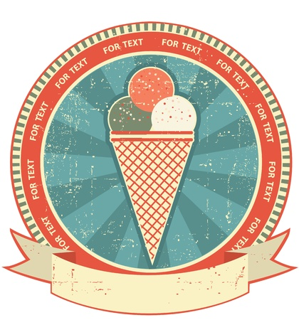 Ice cream label set on old paper texture.Vintage background Vector