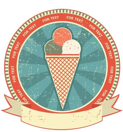 helado de chocolate: La etiqueta de helados situado en fondo antiguo de papel texture.Vintage
