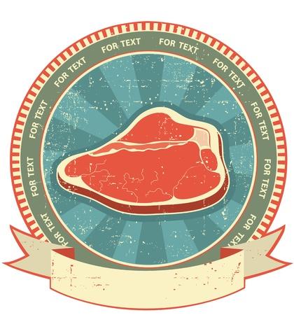 Vlees label dat voor oud papier texture.Vintage achtergrond Vector Illustratie