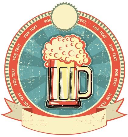 beer card: Beer label on old paper texture.Vintage style