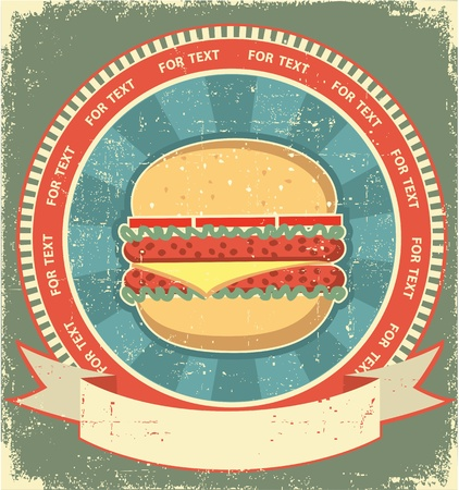 eating burger: Hamburger label set on old paper texture.Vintage background Illustration