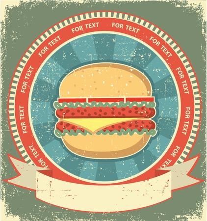 burger: Hamburger label set on old paper texture.Vintage background Illustration