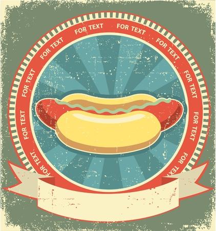 sausage dog: Hot dogs.Vintage label of fast food on old paper background
