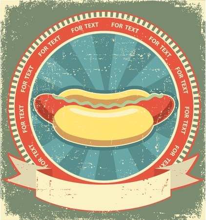 dog eating: Hot dogs.Vintage label of fast food on old paper background