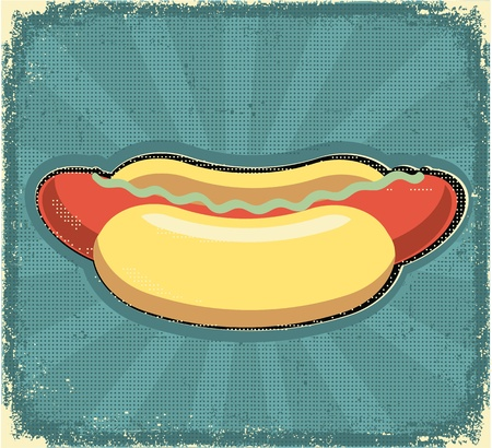 diner: Hot dogs poster.Retro image on old paper texture