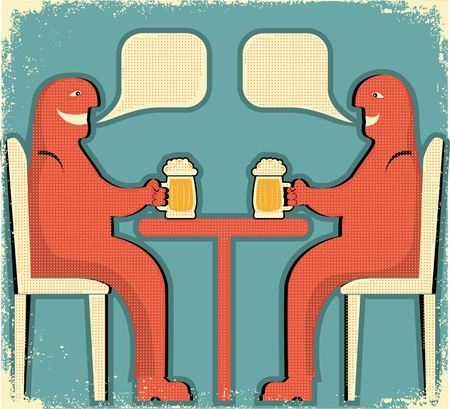 gaiety: Two men drinking glasses of beer.Vintage poster Illustration