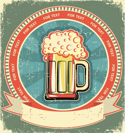 Beer label set on old paper texture.Vintage background Vector
