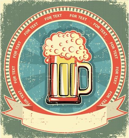 vasos de cerveza: Etiqueta de la cerveza situado en fondo antiguo de papel texture.Vintage Vectores
