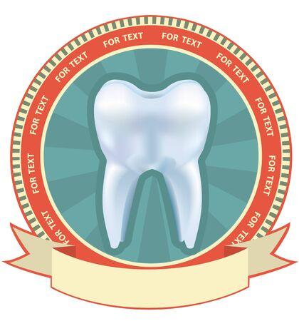 dolor de muelas: La etiqueta del diente establecido. ilustraci�n, con efecto de malla
