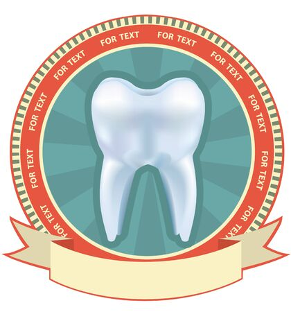 Tooth label set. illustration with Mesh effect