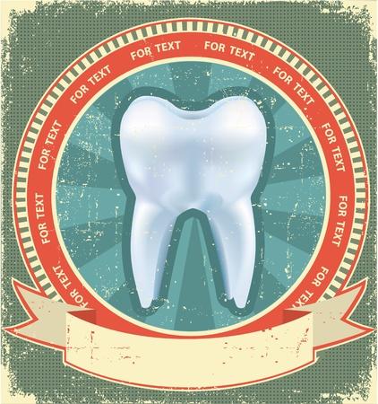 caries dental: La etiqueta del diente situado en fondo antiguo de papel texture.Vintage