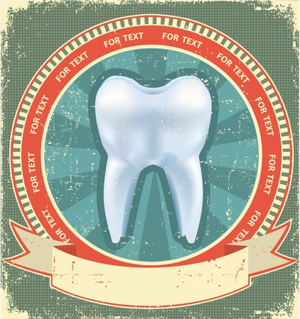 dental caries: Tooth label set on old paper texture.Vintage background